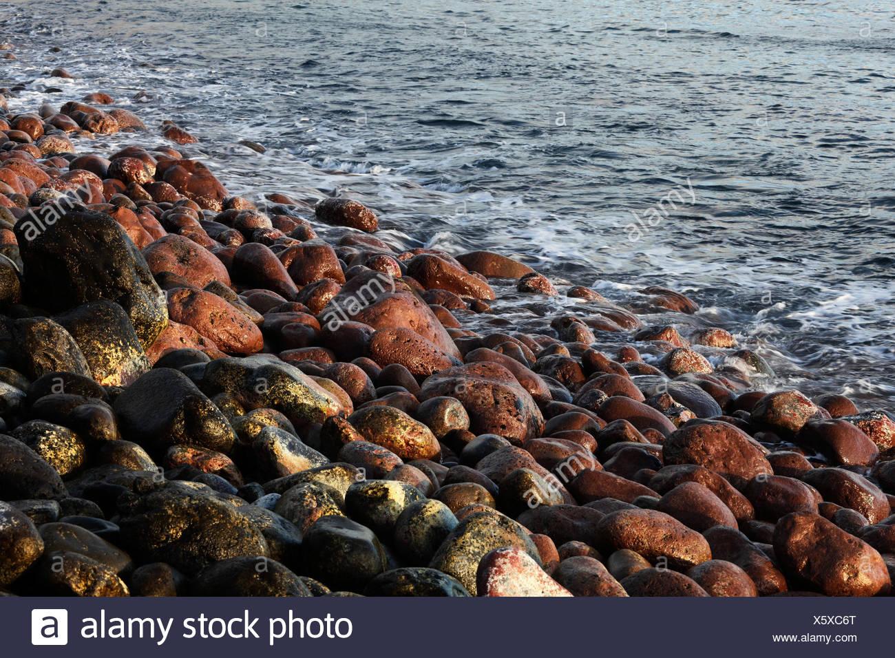 Red and black stones on a beach, Playa de Santiago, La Gomera, Canary Islands, Spain, Europe Stock Photo