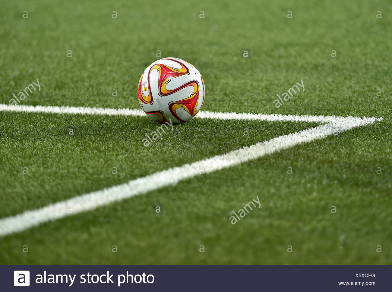 Adidas football and the six-yard box - Stock Image