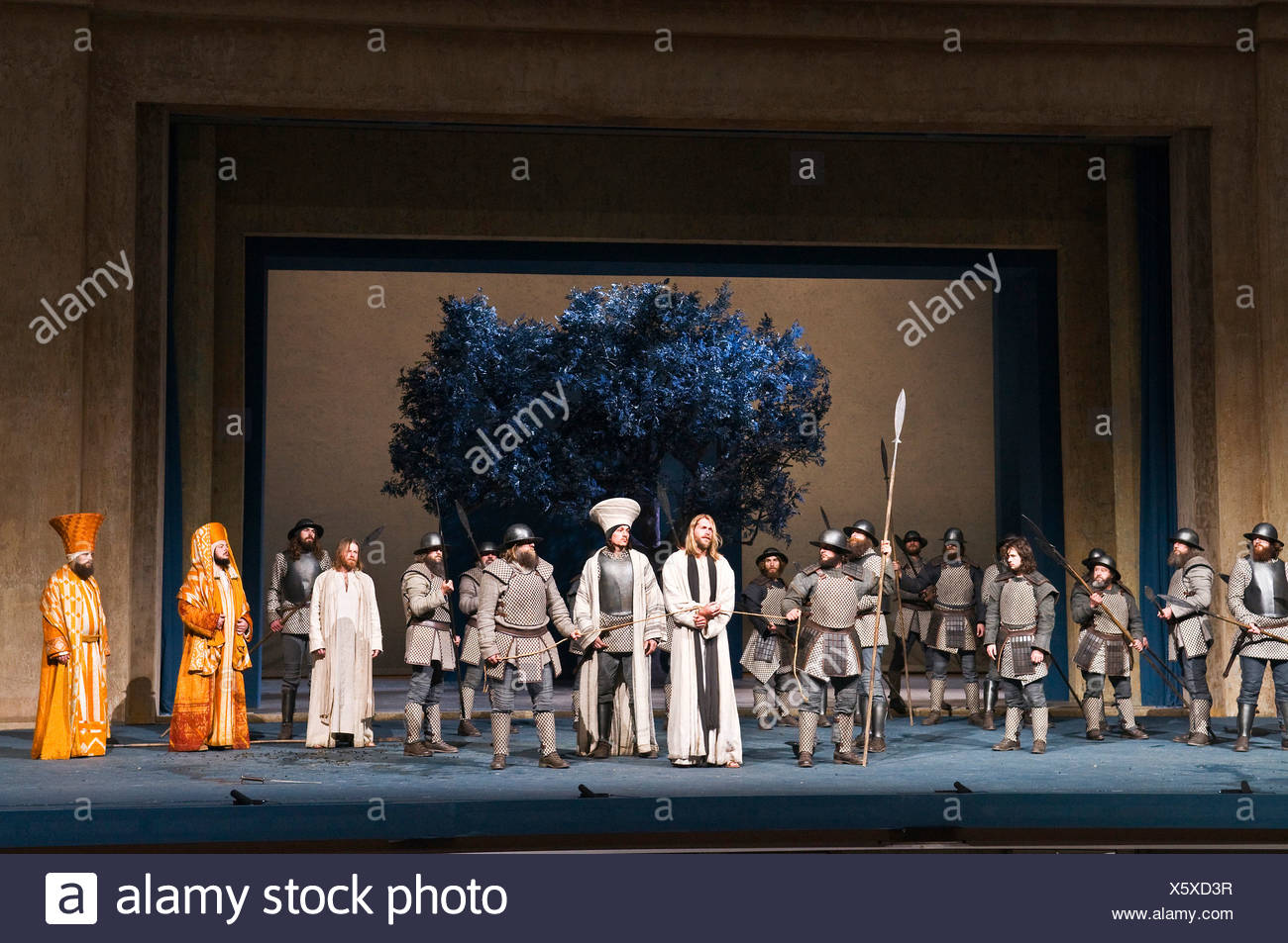 Having been betrayed by Jude, Jesus is arrested with Jude being at the scene, Oberammergau Passion Play, Bavaria - Stock Image