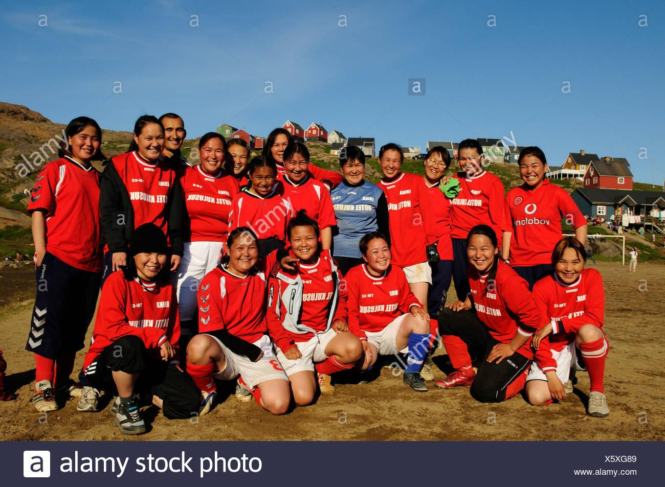 Women's football in Tasiilaq, Ammassalik, East Greenland - Stock Image