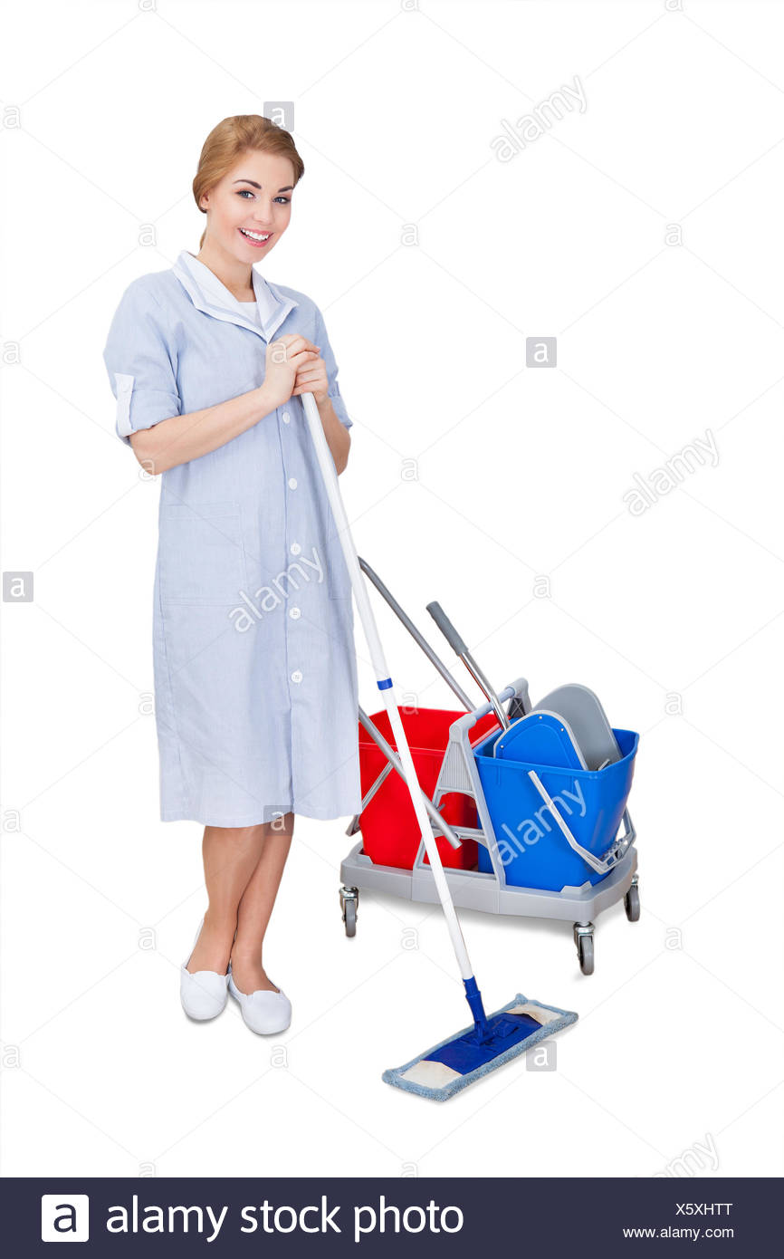 Female Janitor Cleaning Floor Using Mop - Stock Image