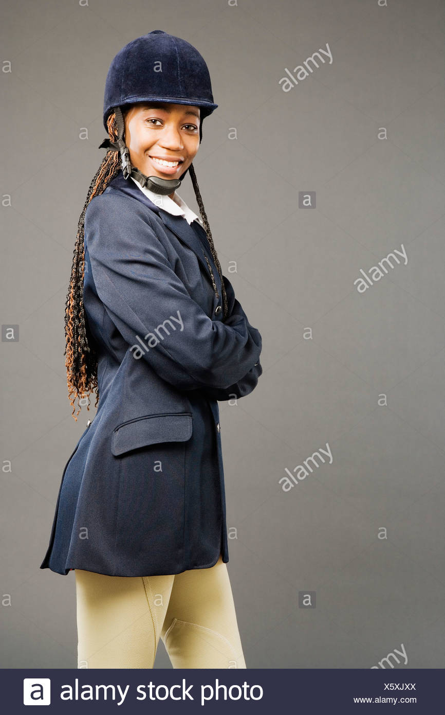 Woman In Horse Riding Outfit Stock Photo Alamy