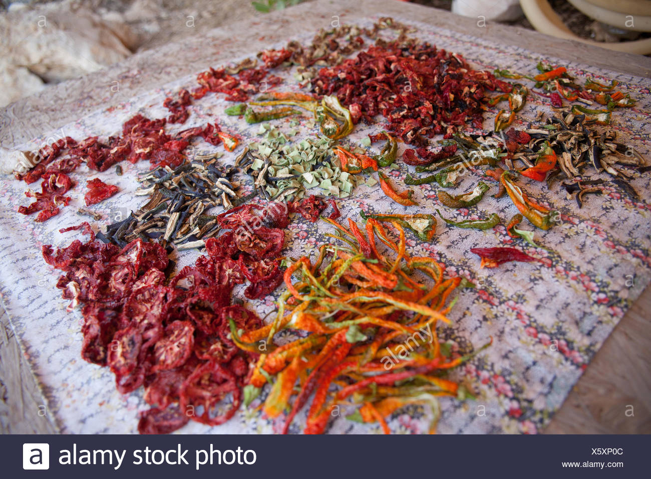 Dried Chilies On Sheet - Stock Image
