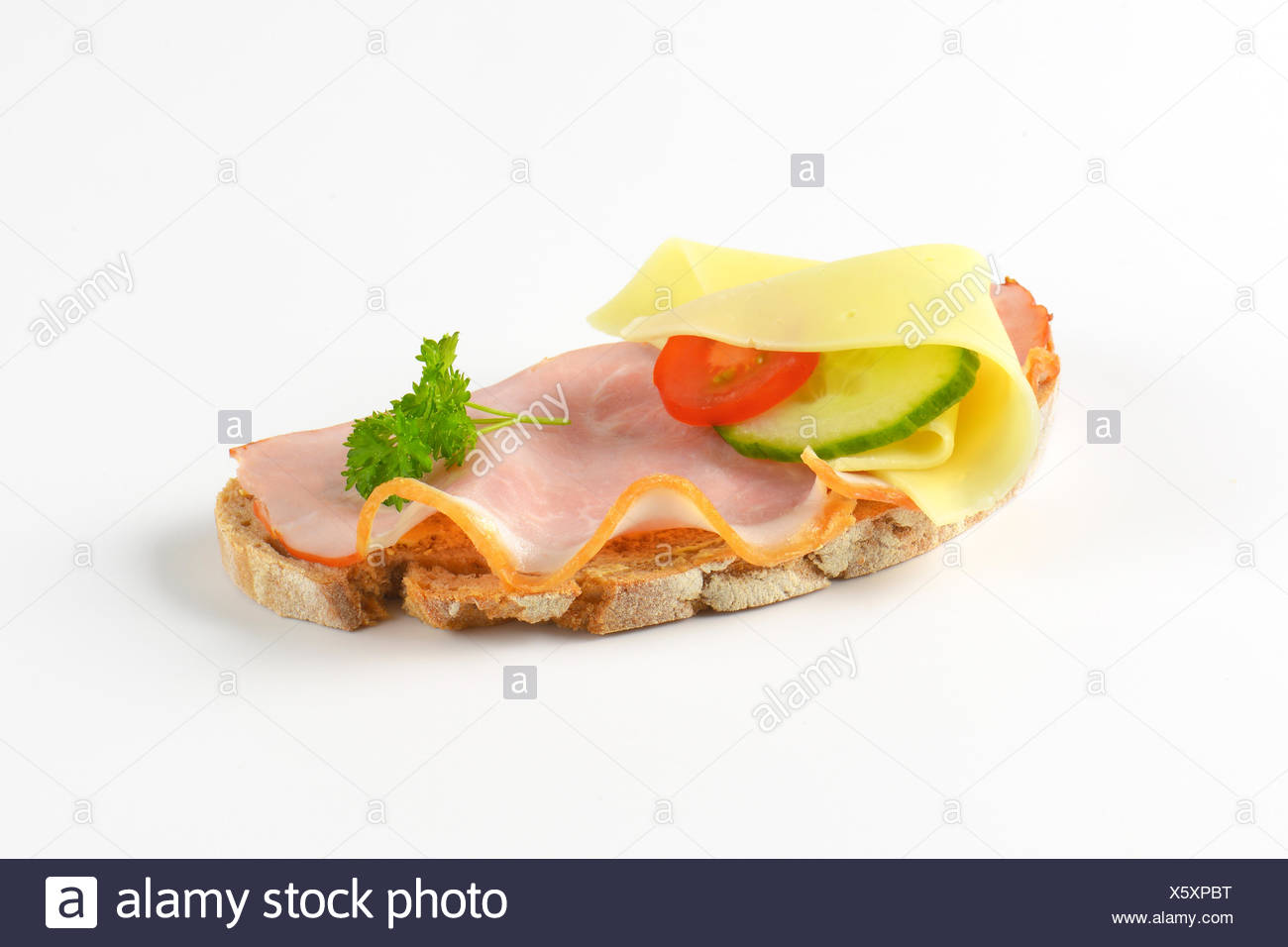 open faced sandwich Stock Photo