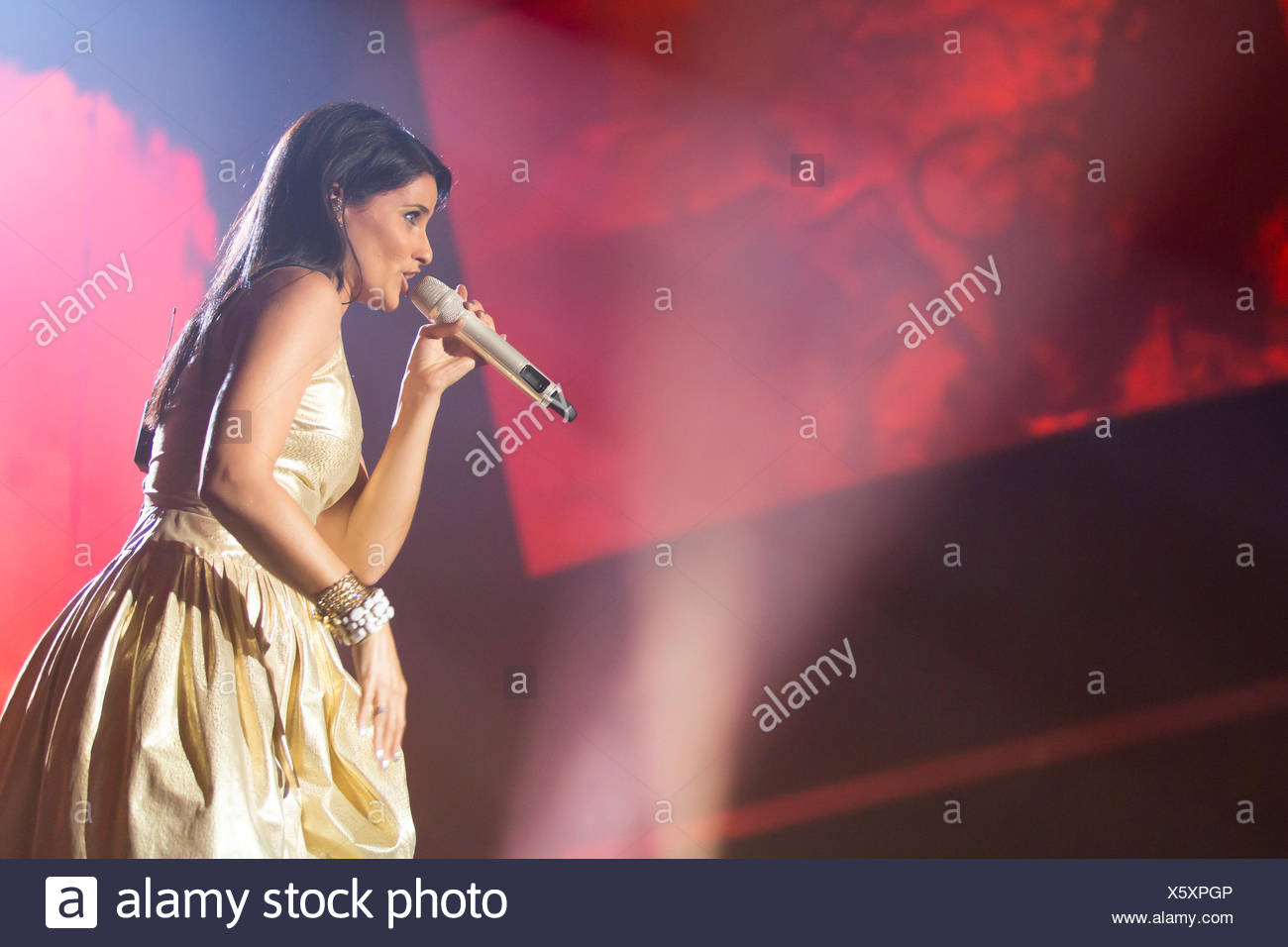 The Portuguese-Canadian singer Nelly Furtado performing live at the Energy Stars For Free event, Hallenstadion Zuerich hall - Stock Image
