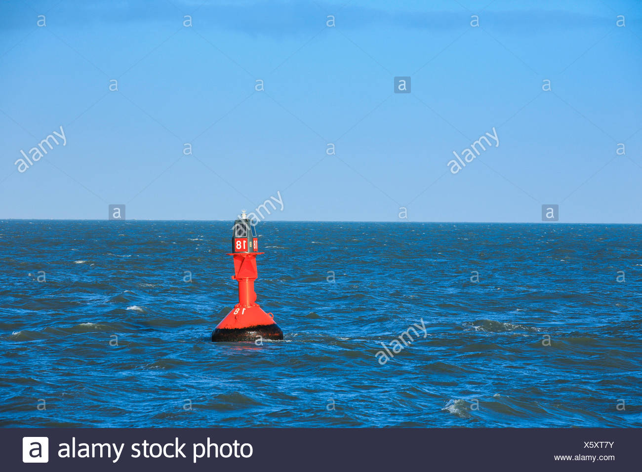 light buoy in the North Sea, Germany - Stock Image