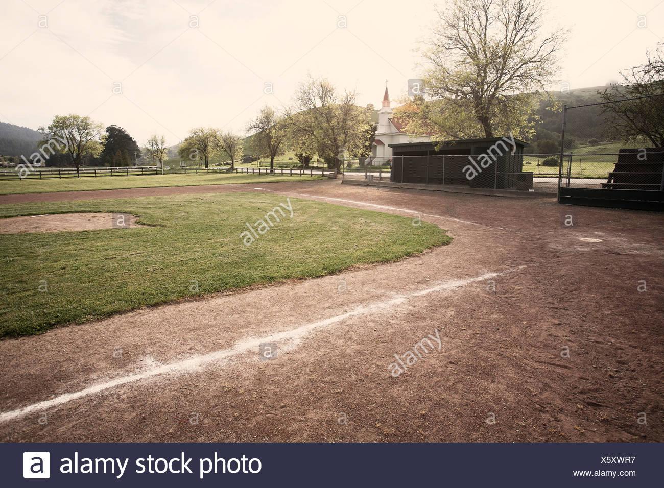 Baseball diamond in park - Stock Image