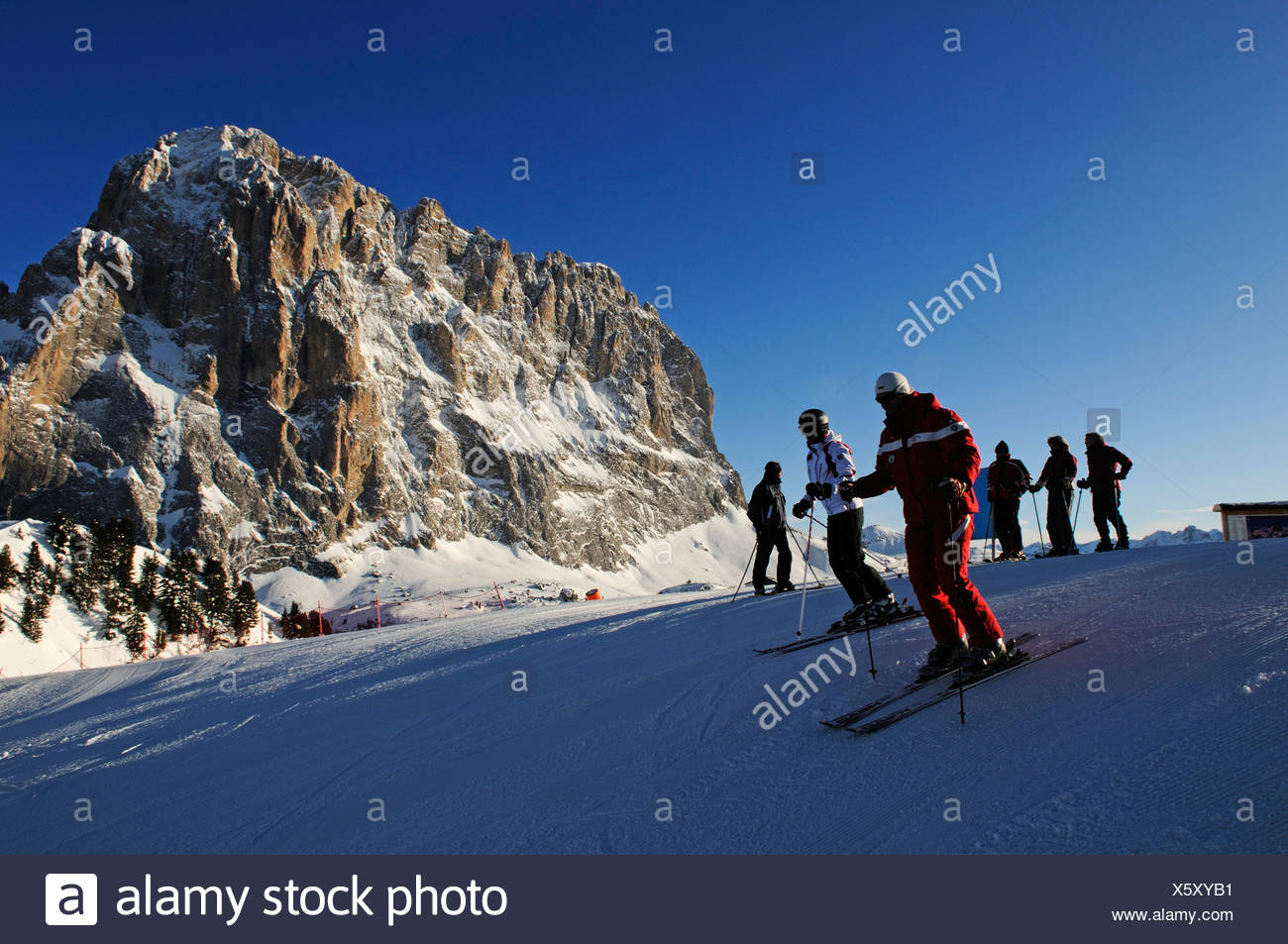 Ski piste at Santa Cristina, Selva, Langkofel mountain, Sella Ronda, Val Gardena, South Tyrol, Italy, Europe - Stock Image