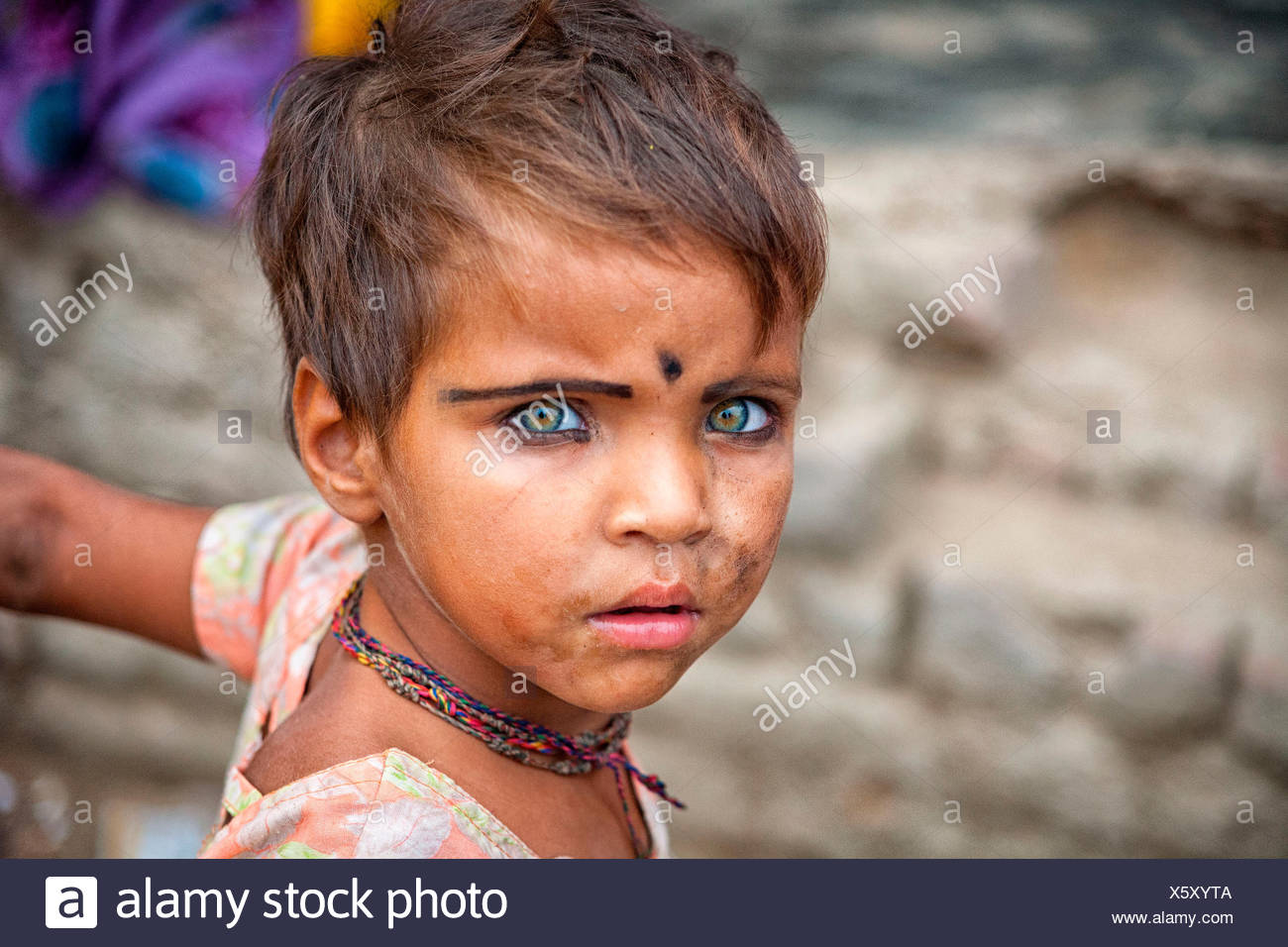 Asia,Rajasthan, India. Portrait of an Indian child. - Stock Image