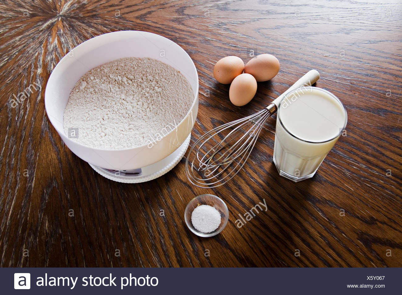 ingredients for pancakes on a table, Austria - Stock Image