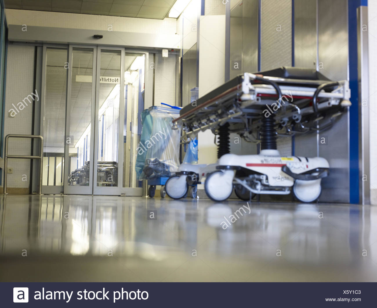 Rolling stretcher, hospital hall, outpatients, clinic, - Stock Image