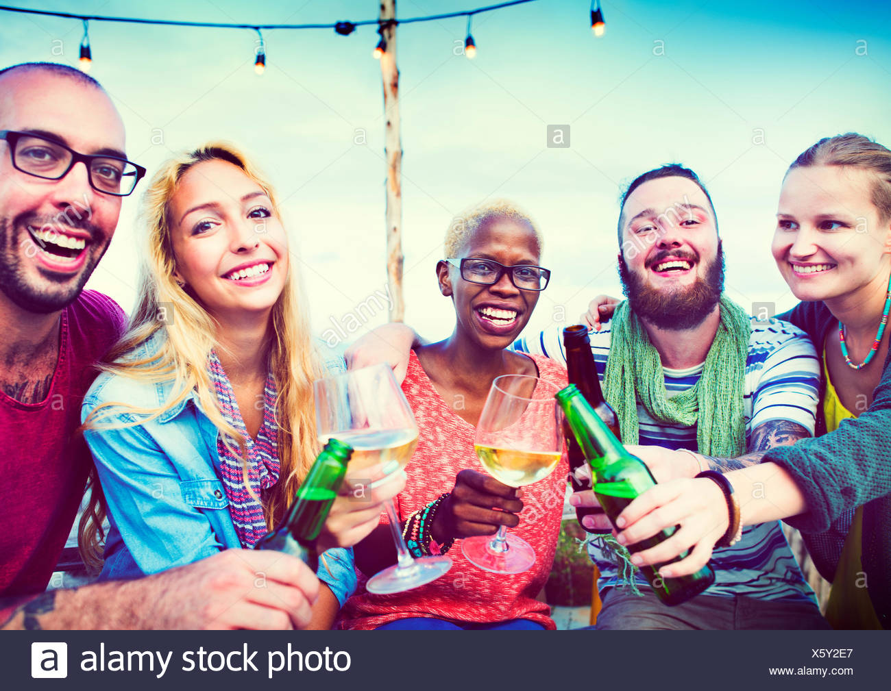 Diverse Summer Beach Party Roof Top Fun Concept - Stock Image