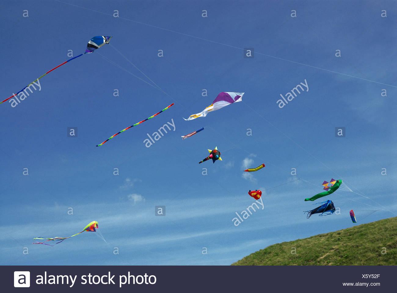 kites flying - Stock Image