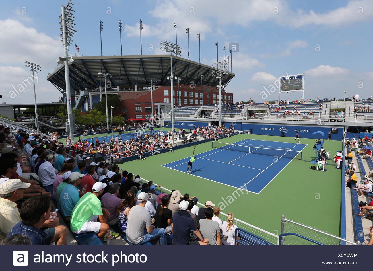 Outdoor courts and the Arthur Ashe Stadium, US Open in 2014, ITF Grand Slam Tennis Tournament, USTA Billie Jean King National - Stock Image