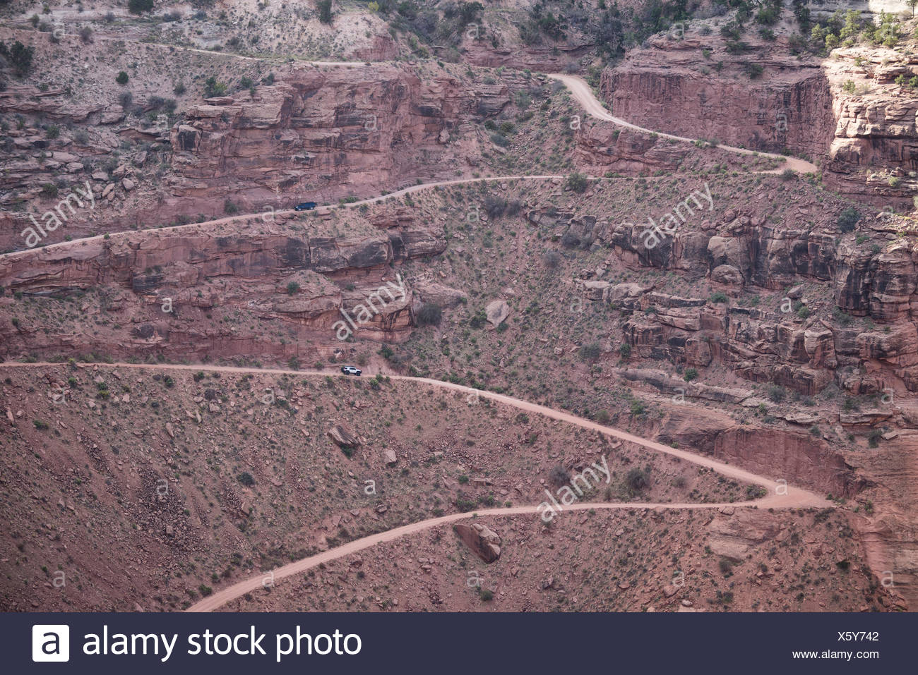 Colorado Plateau, Utah, Canyonland National Park, Island in the Sky, Schafer Canyon road - Stock Image