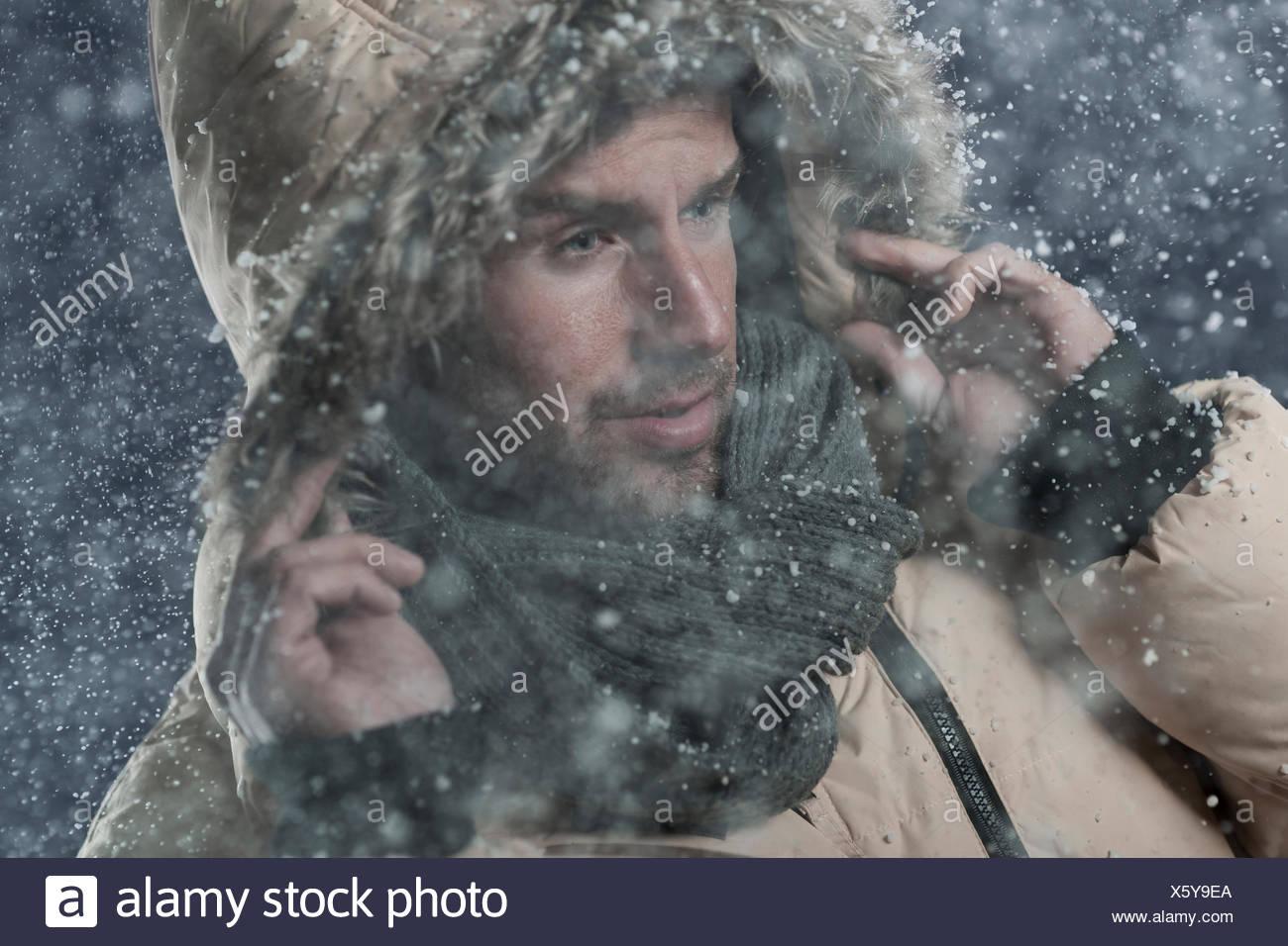 Bad weather in winter season. Debica, Poland - Stock Image