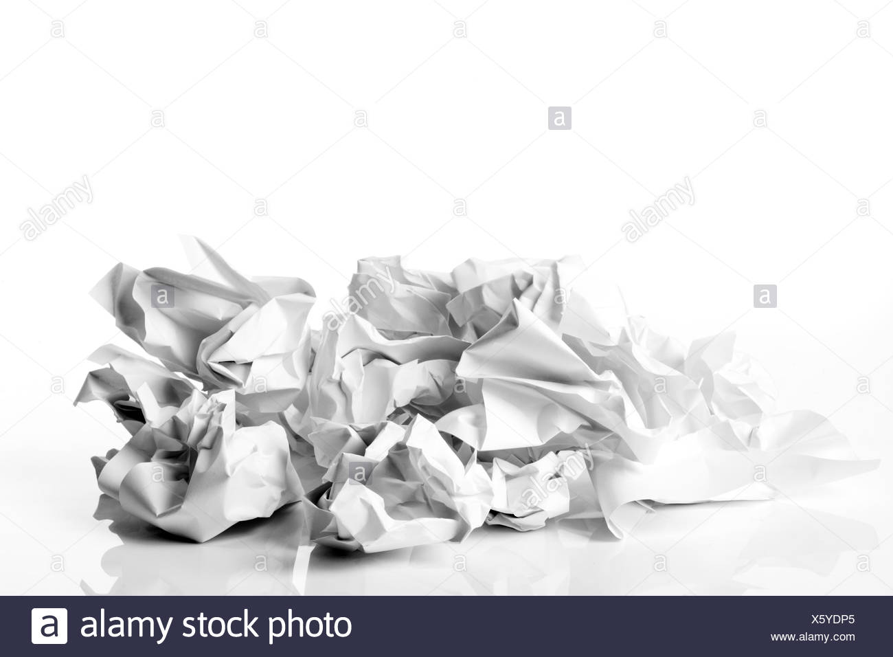 Crumpled-up paper - Stock Image