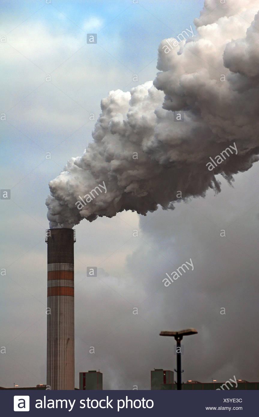 Smoking chimney of the Schkopau power plant, An der Bober 100, Schkopau, Saxony-Anhalt, Germany, Europe - Stock Image