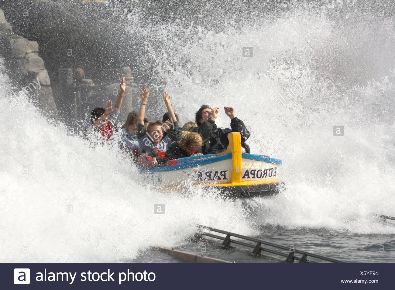 Water roller coaster poseidon, Europa park Rust, Bade-Wuerttemberg, Germany - Stock Image
