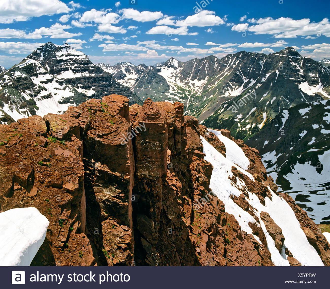 Mt. Pyramid Peak and Mt. Maroon Peak, Aspen, Colorado, USA - Stock Image