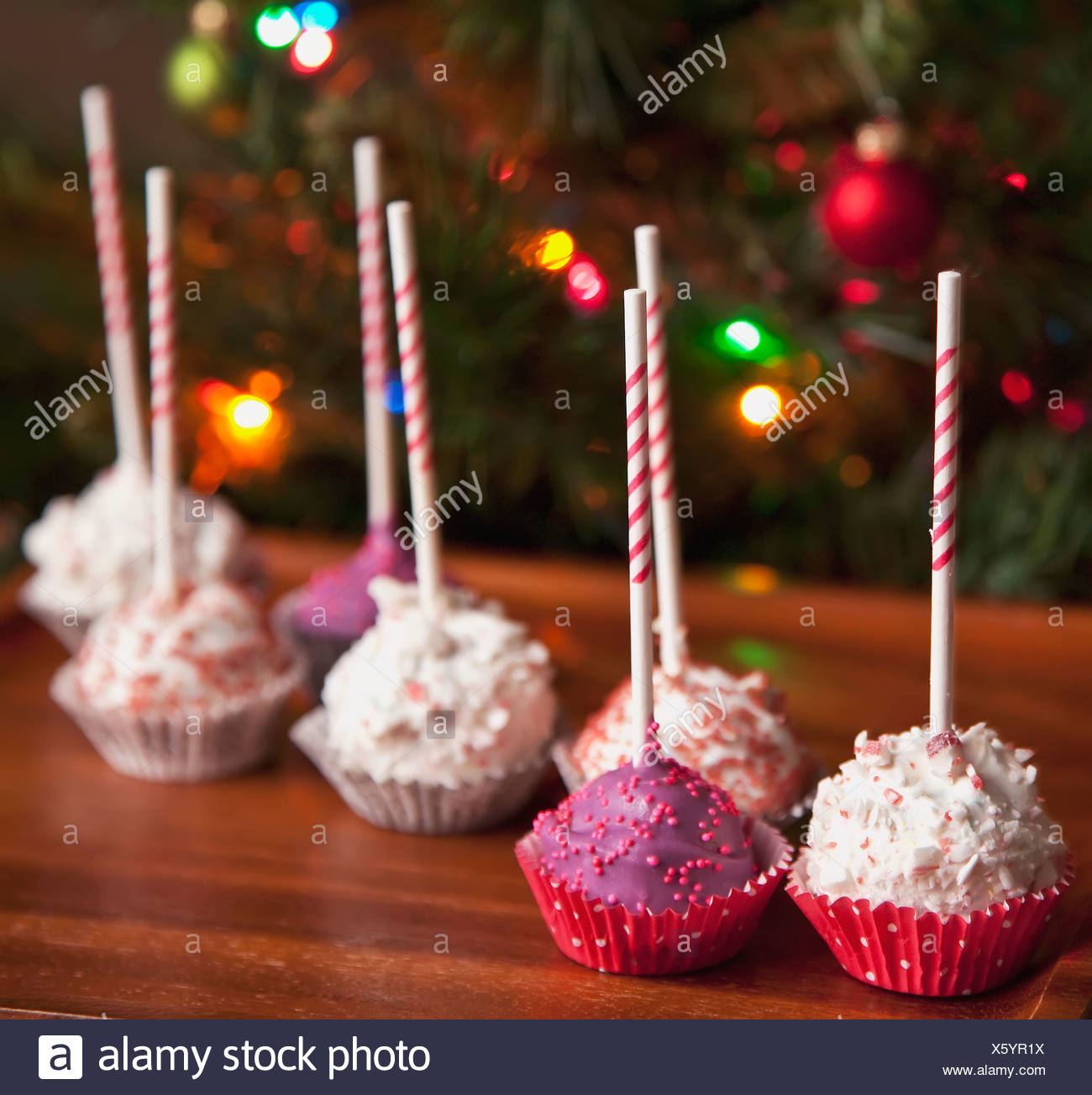 Decorated Pink Cake Pops By A Christmas Tree Edmonton Alberta Canada