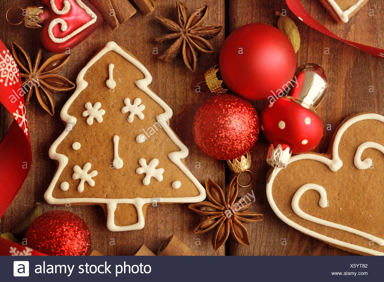 Christmas Cookies Gingerbread Christmas Tree Decorations Stock Photo Alamy