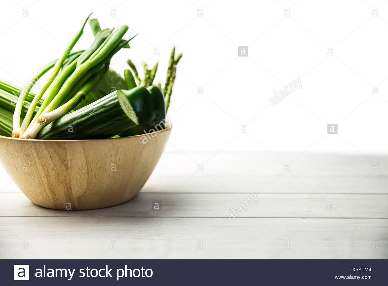 Green vegetables in bowl Stock Photo