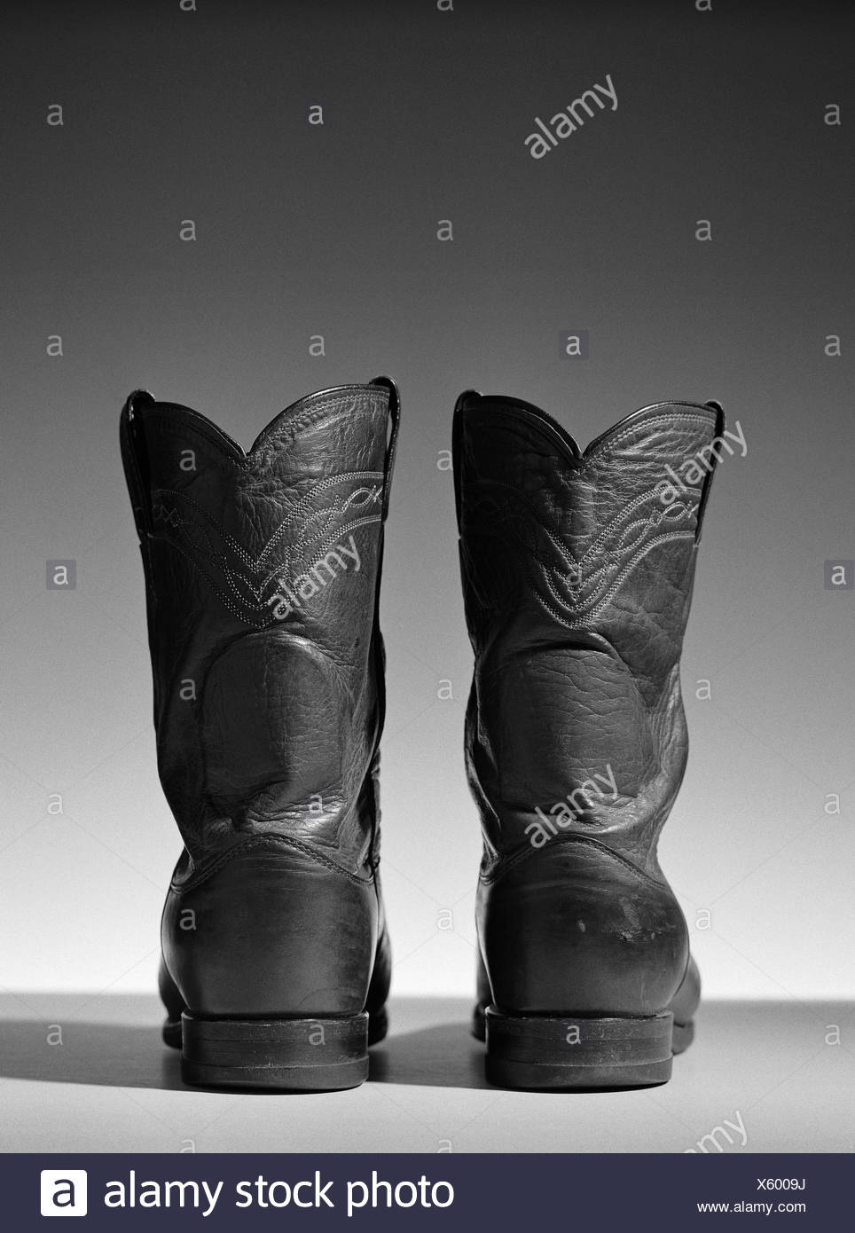 Leather cowboy boots, close-up - Stock Image