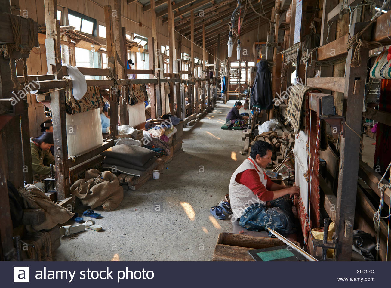 Men and a woman weaving rugs at the Tibetan Refugee and Self Help Center. - Stock Image