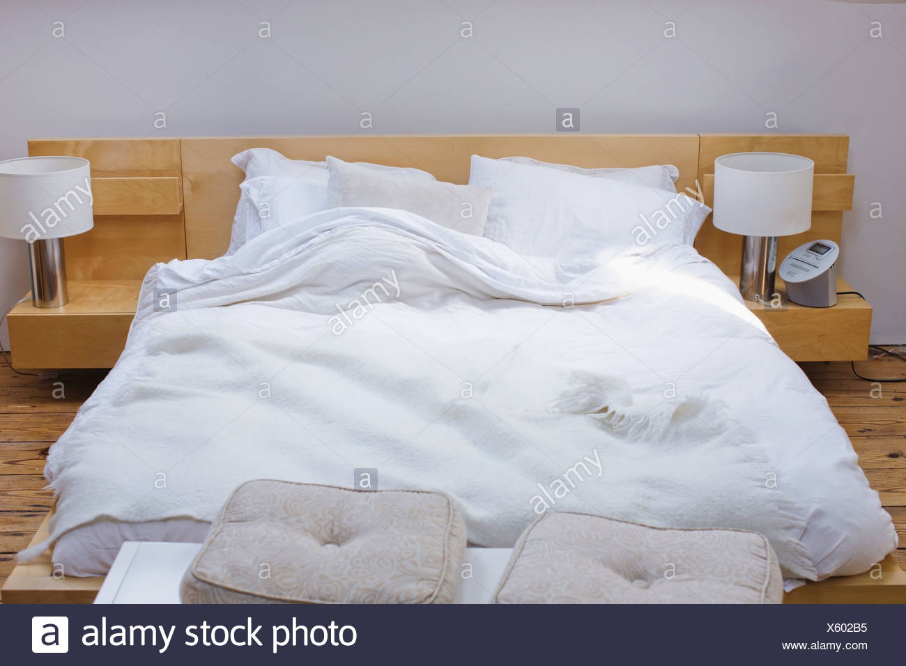 unmade bed side view. Unmade Bed - Stock Image Side View I