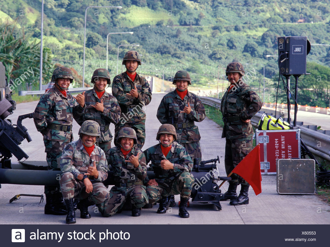 National Guard troops (Alpha Battery) at the H-3 Interstate Highway, providing protection during the opening marathon run - Stock Image