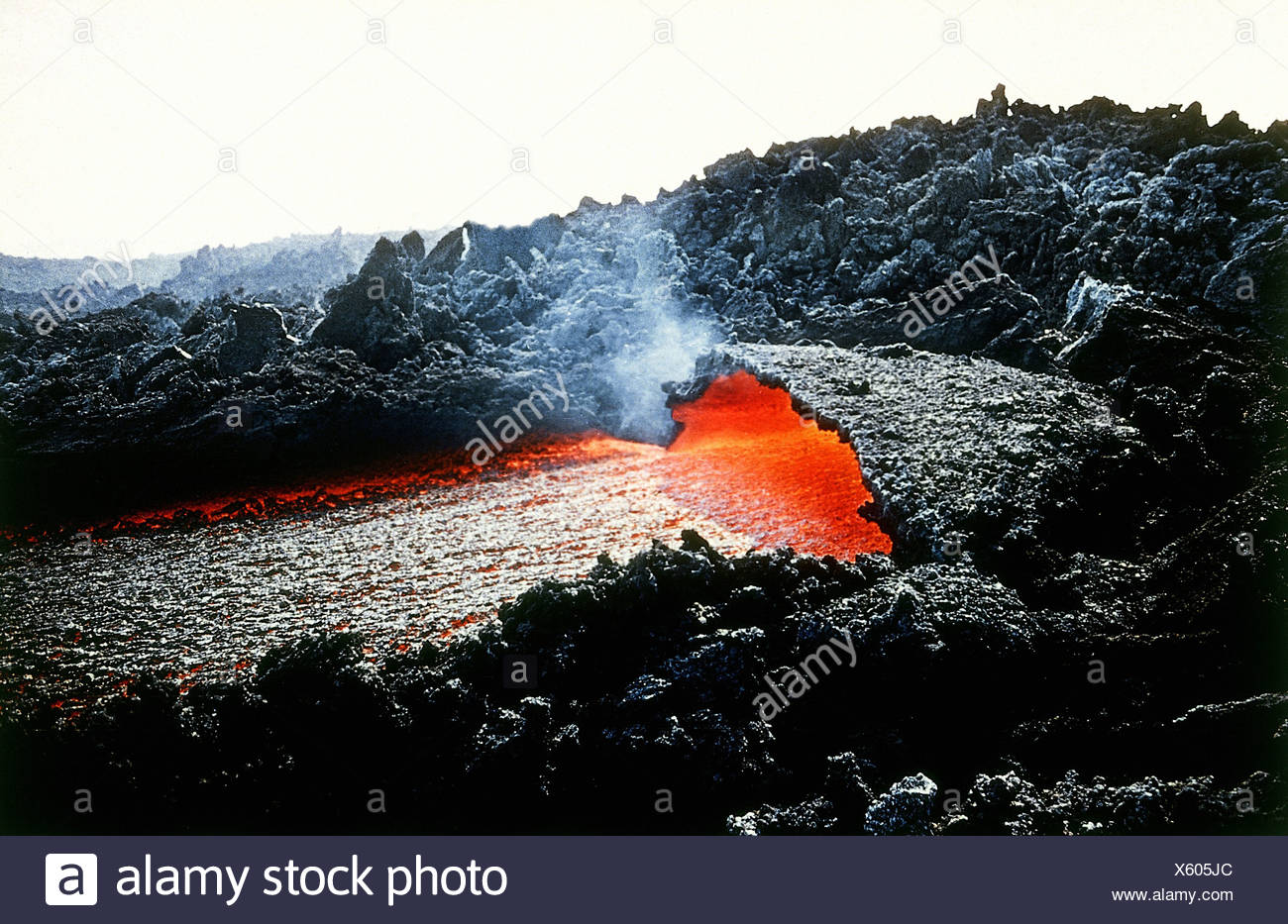 geography / travel, Italy, Sicily, volcanos, eruption of Mount Etna, Europe, geology, formation, force of nature, landscape, landscapes, volcano, volcanos, volcanoes, volcanism, volcanic activity, volcanic eruption, volcanic outburst, volcanic eruptions, volcanic outbursts, lava stream, lava river, lava flow, volcanic flow, lava streams, lava rivers, lava flows, volcanic flows, historic, historical, 20th century, Additional-Rights-Clearances-NA Stock Photo