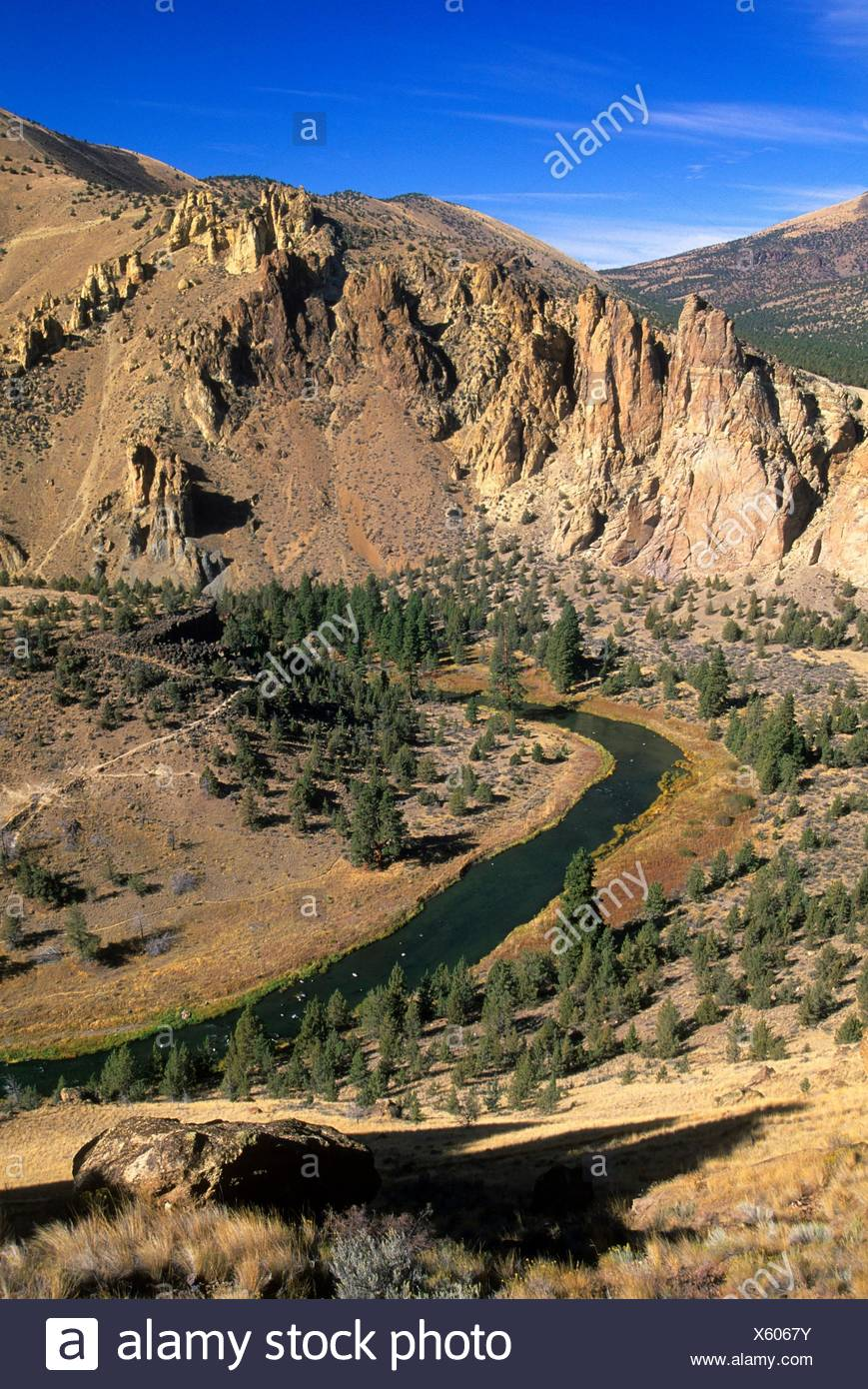 View from Misery Ridge, Smith Rock State Park, Oregon. Stock Photo