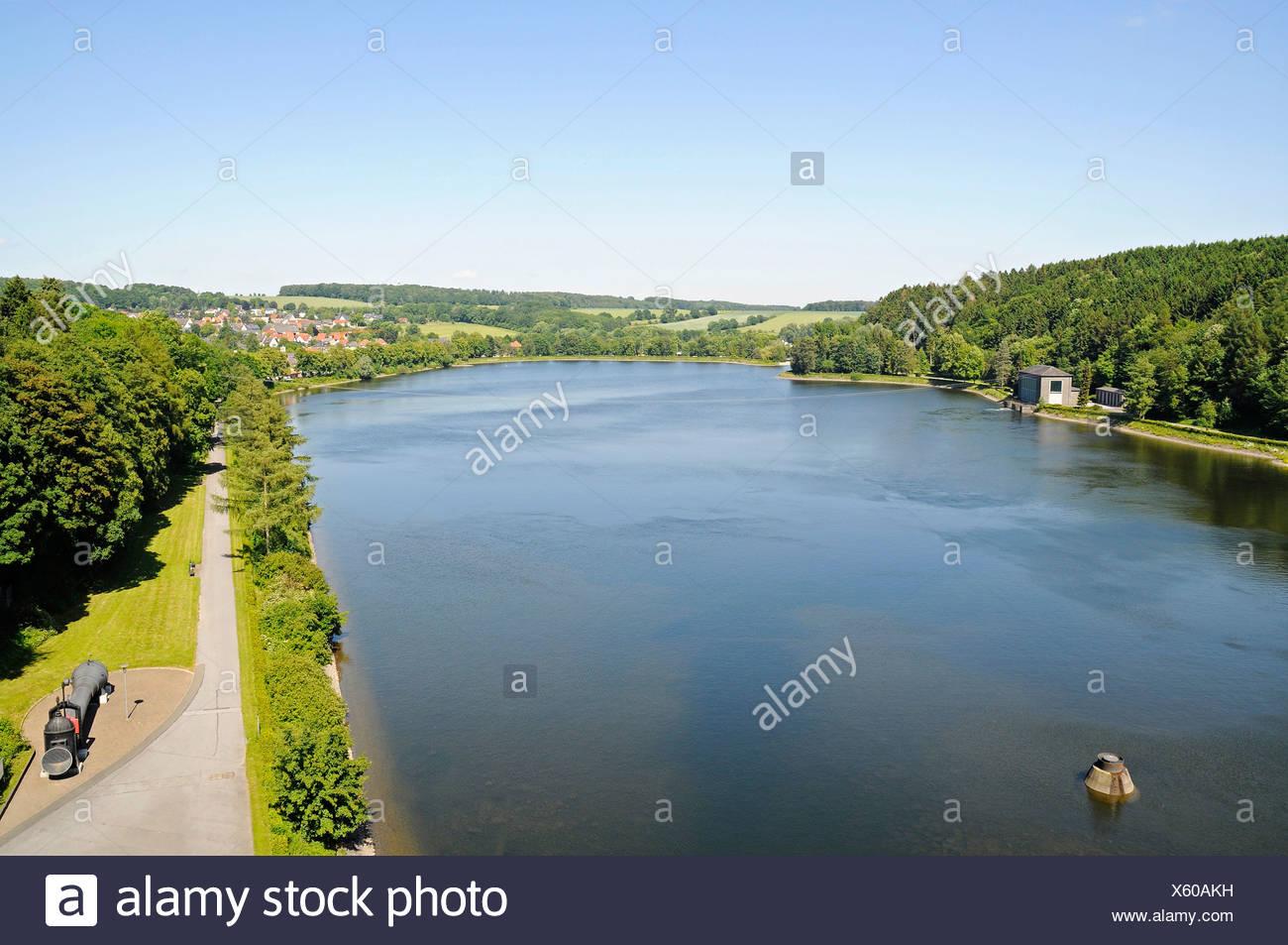 View from the dam, Brueningsen, Moehnesee lake, Moehne, reservoir, dam, North Rhine-Westphalia, Germany, Europe Stock Photo