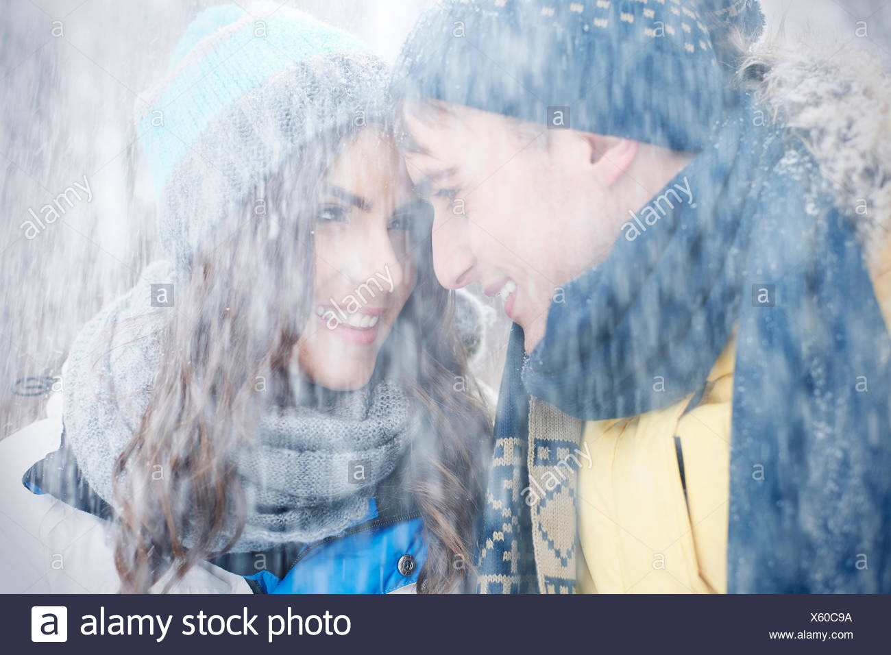 Warm me up in huge blizzard. Debica, Poland - Stock Image