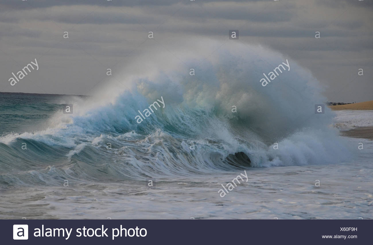 Cape Verde, Cape Verde Islands, sal, ponta preta, sand, sea, waves, Atlantic, beach, seashore, sand beach, foam, breakwater Stock Photo