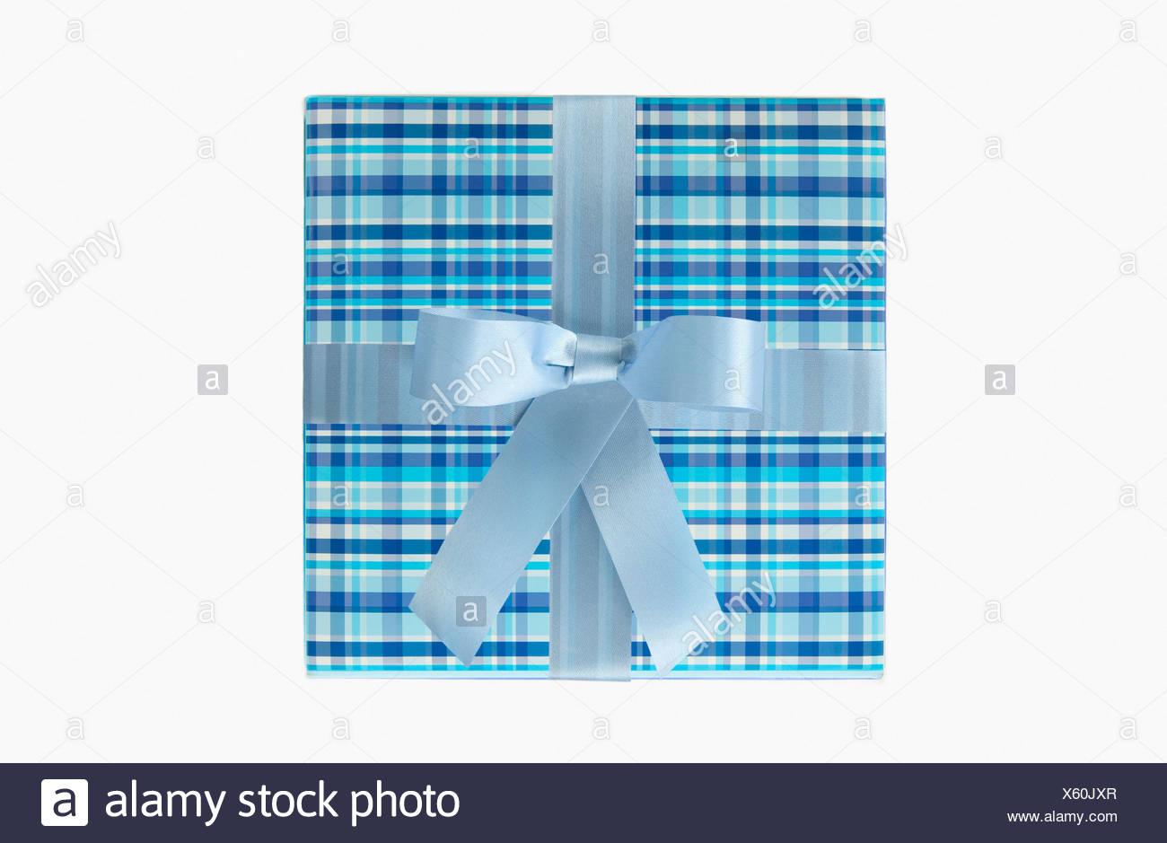 Blue gift box - Stock Image