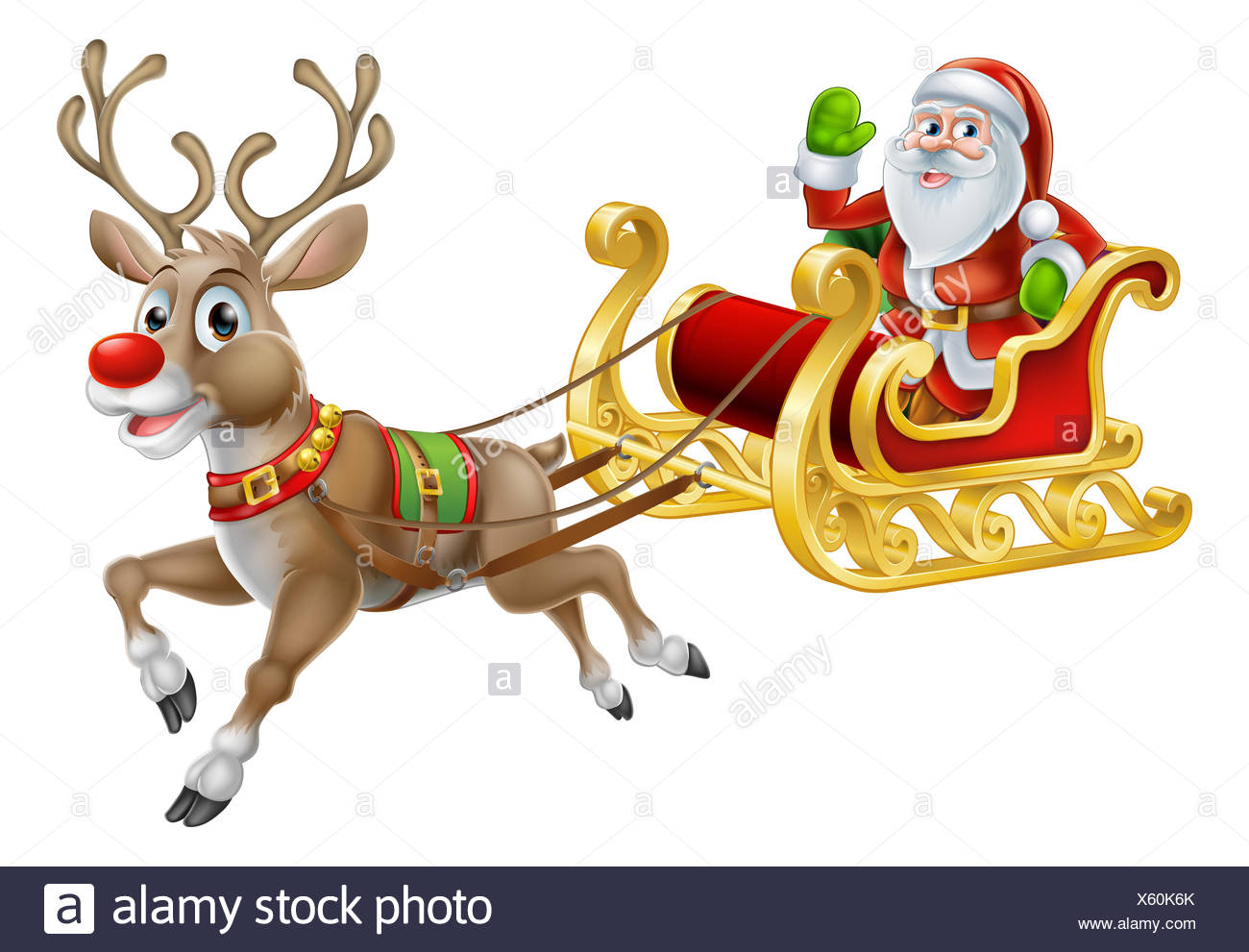 an illustration of santa claus riding in his christmas sleigh or sled delivering presents with his red nosed reindeer - Christmas Sled