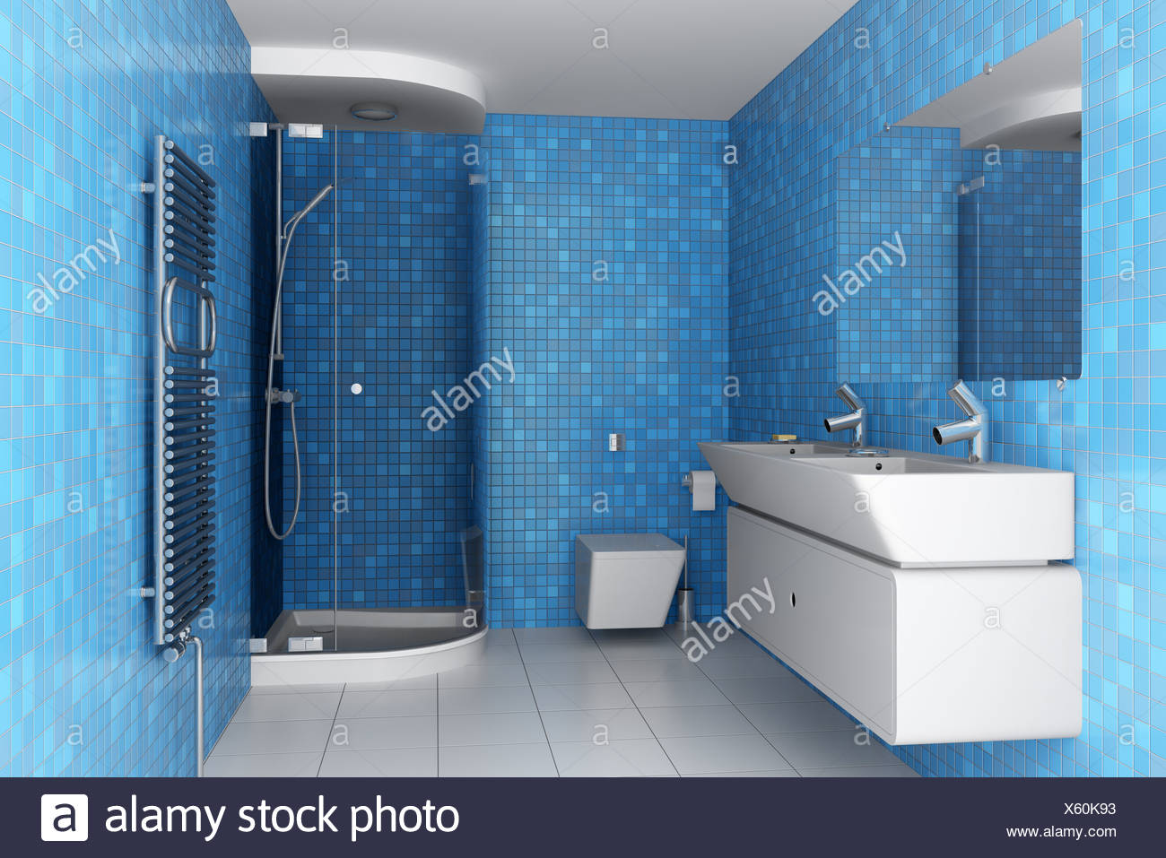 Bathroom Blue Tiles On Wall Stock Photos & Bathroom Blue Tiles On ...