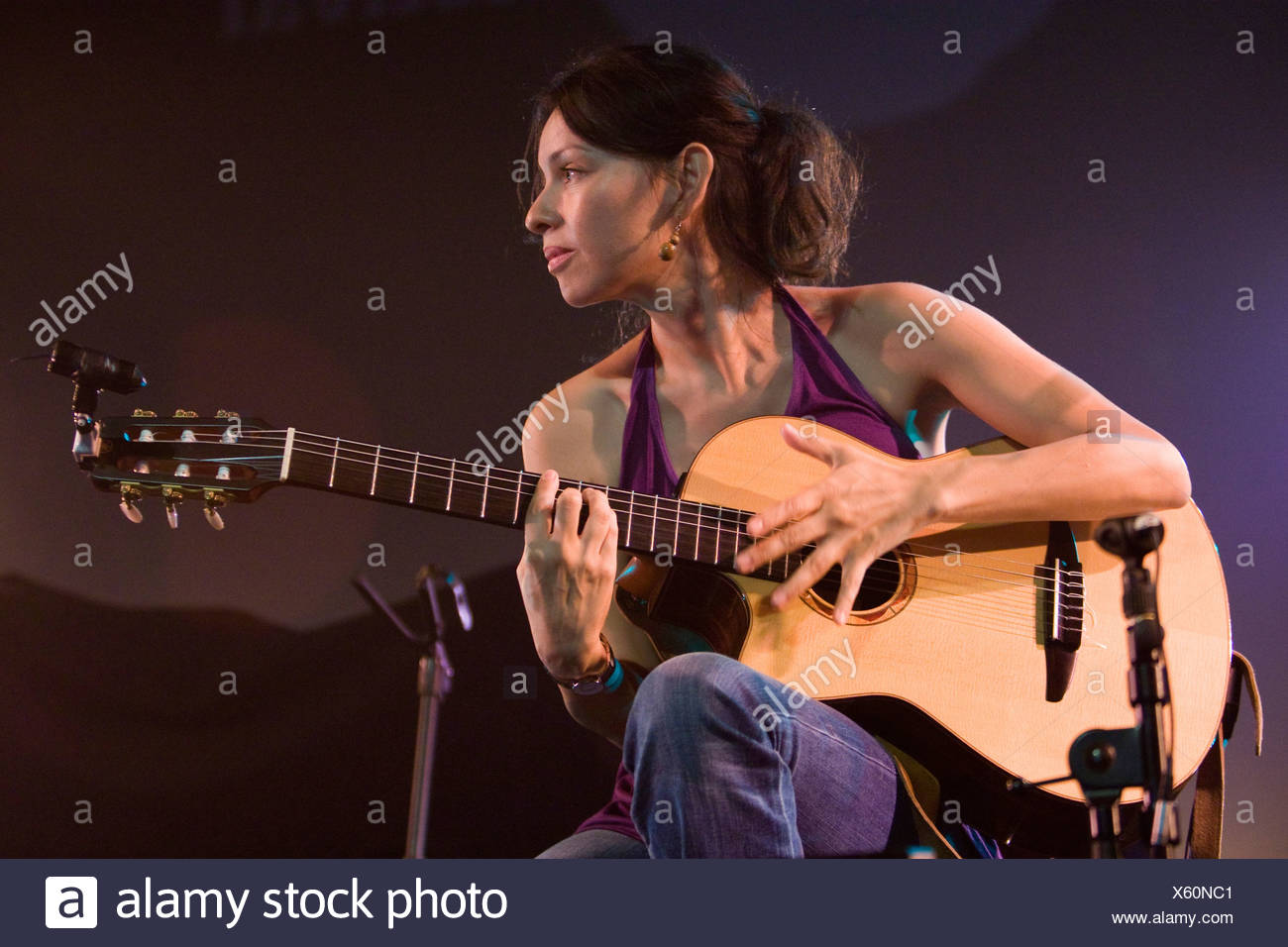 Gabriela Quintero from the Mexican guitar duo Rodrigo Y Gabriela performing live at the Blue Balls Festival in the Lucerne Hall - Stock Image