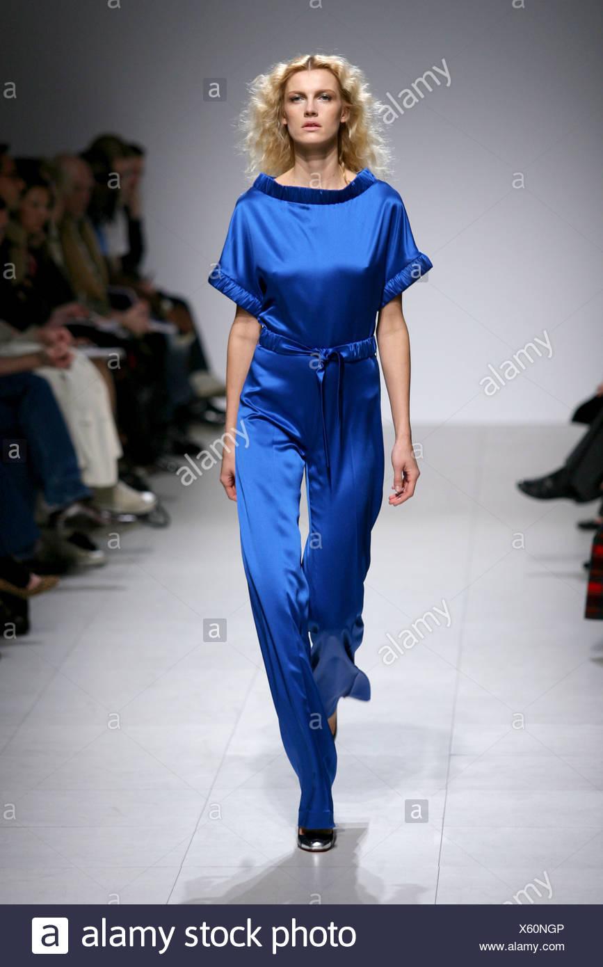 91c86827d5a2 Martin Grant Paris Ready to Wear Autumn Winter Model wearing electric blue silk  jumpsuit - Stock