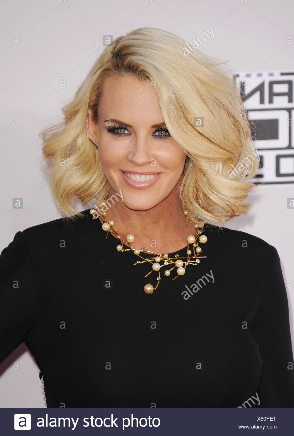 TV personality Jenny McCarthy arrives at the 2014 American Music Awards at Nokia Theatre L.A. Live on November 23, 2014 in Los Angeles, California., Additional-Rights-Clearances-NA - Stock Image