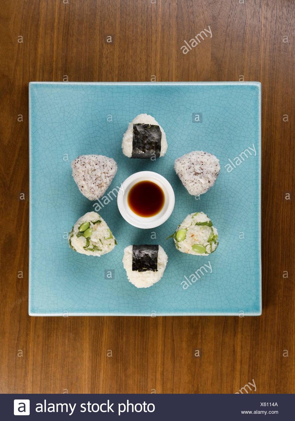 Aerial view of plate of sushi Stock Photo