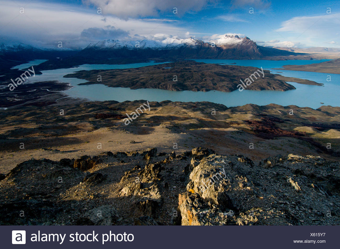 A scenic vista of Lago Belgrano and Peninsula Belgrano in Perito Moreno National Park, Argentina - Stock Image