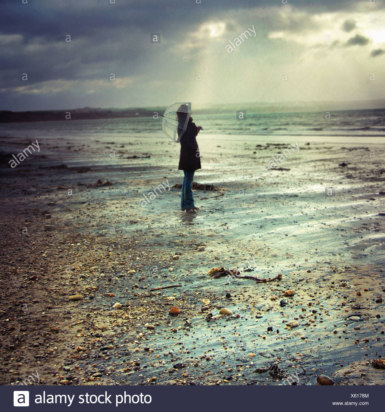 Young woman with umbrella standing alone on a stony beach on a rainy day with dark clouds - Stock Image