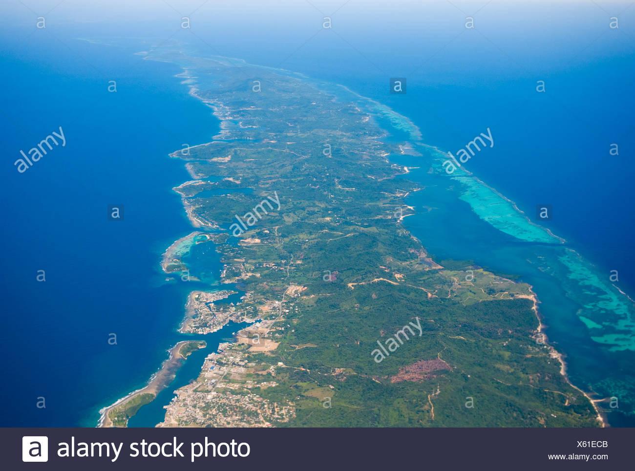 Eastern part of Roatan, French Harbour, Honduras, Caribbean - Stock Image