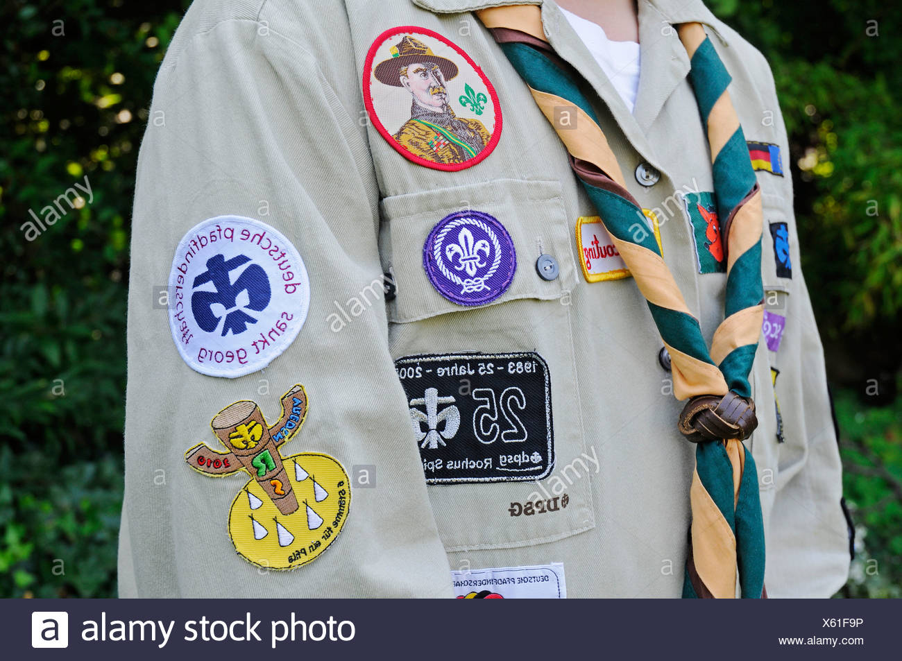Scouts uniform with badges, neckerchief, Germany, Europe - Stock Image