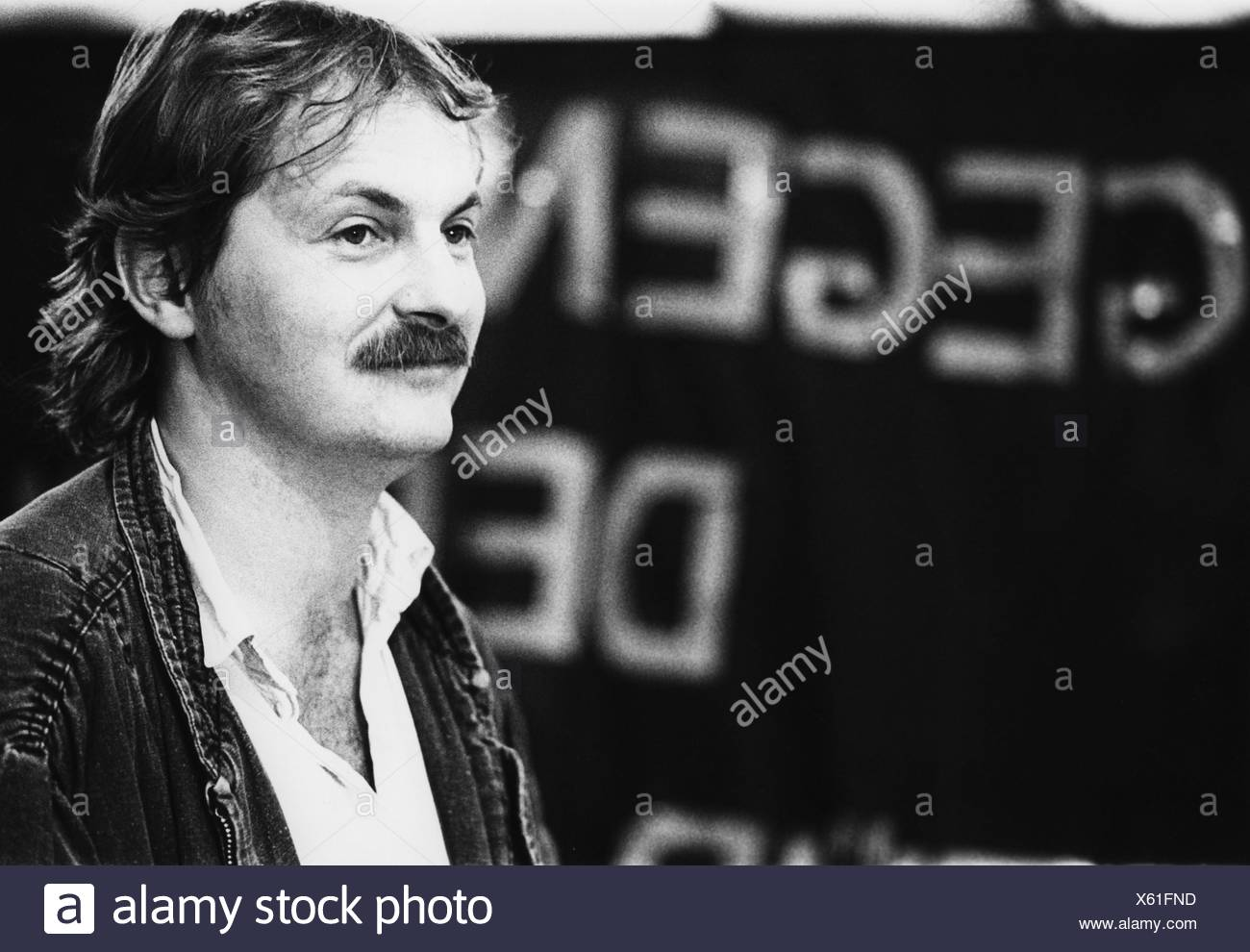 Kleinert, Hubert, German politician (The Greens), portrait, national party convention of the Greens, Hagen, Germany, 22. - 23.6.1985, , Additional-Rights-Clearances-NA - Stock Image