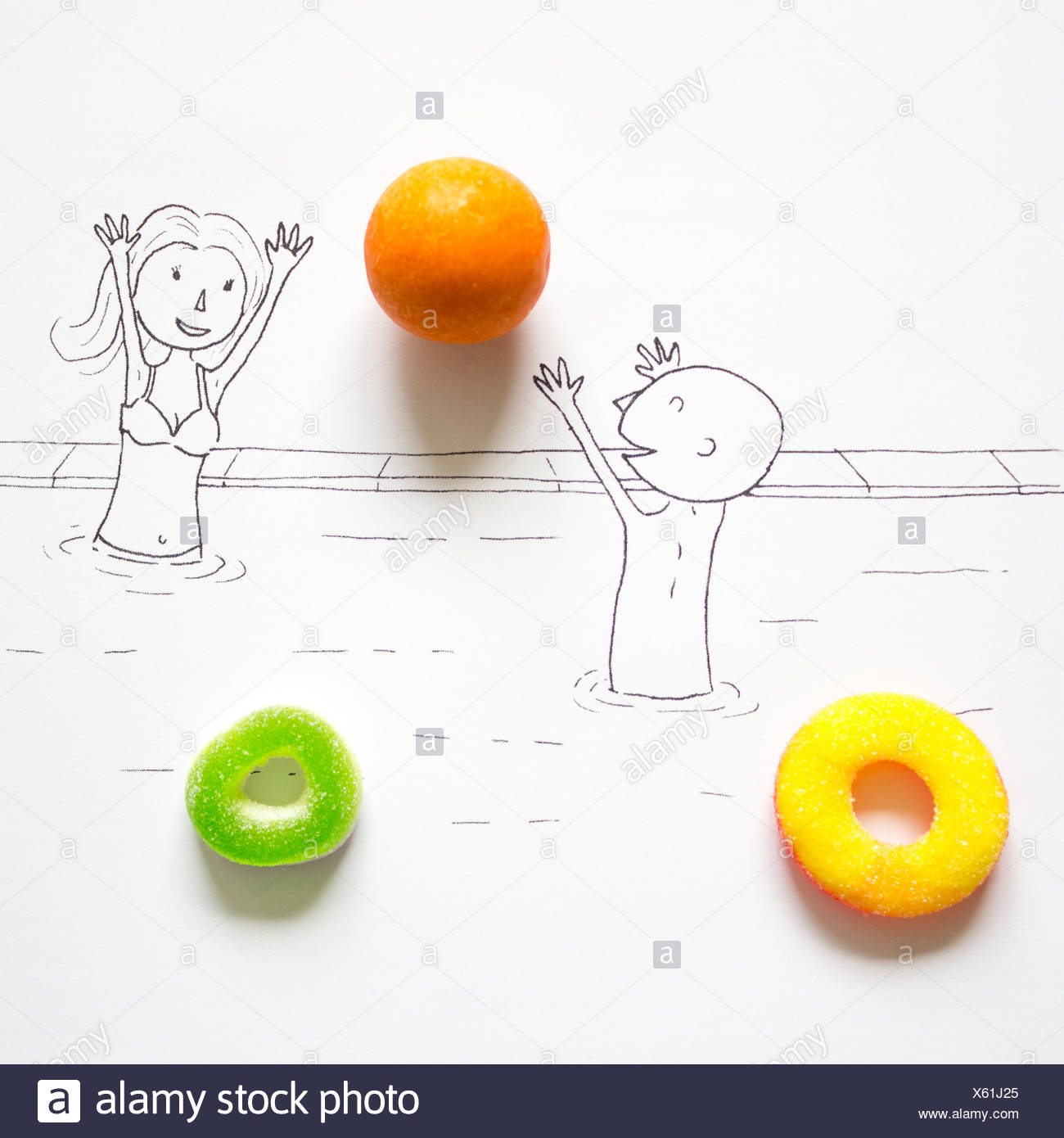 Conceptual drawing of a couple playing in a swimming pool - Stock Image