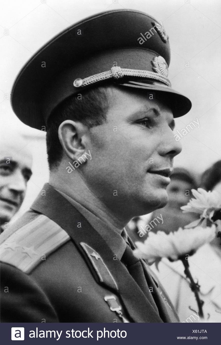Gagarin, Yuri, 9.3.1934 - 27.3.1968, Soviet spaceman (cosmonaut), portrait, postcard, East-Germany, 1972, Additional-Rights-Clearances-NA - Stock Image